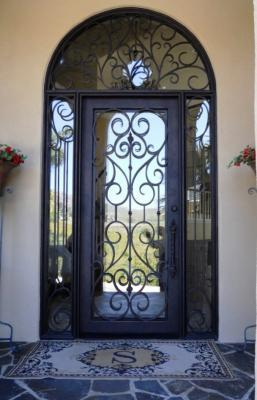 Single Iron Entry Door With Side Lights And Transom Queen